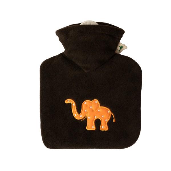 Kinder-Wärmflasche mit Bezug Fleece braun Elefant