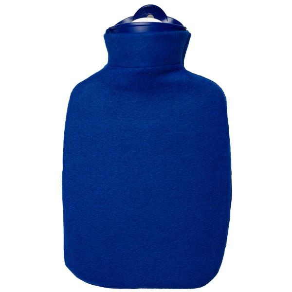 Wärmflasche Klassik 1,8 L mit Fleecebezug blau