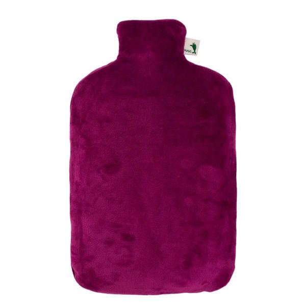 Öko-Wärmflasche mit Nickibezug purpur violett