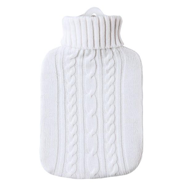Wärmflasche Klassik Strickbezug weiß