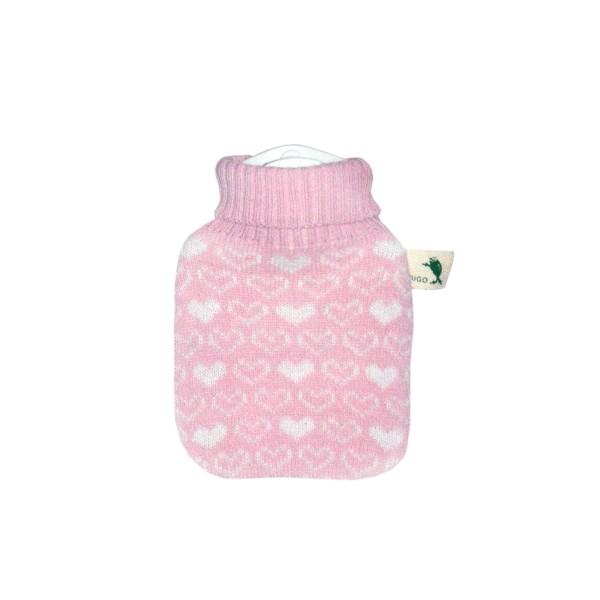 Mini-Wärmflasche mit Strickbezug rosa Herzen