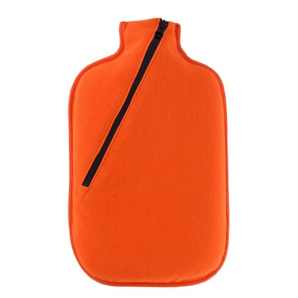Öko-Wärmflasche mit Softshell-Bezug orange