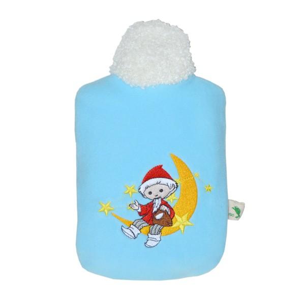"""Kinder Öko-Wärmflasche """"Sandmännchen Mond"""" Soft-Fleecebezug hellblau"""