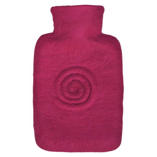 Wärmflasche Klassik 1,8 L mit Filzbezug Spirale Beere