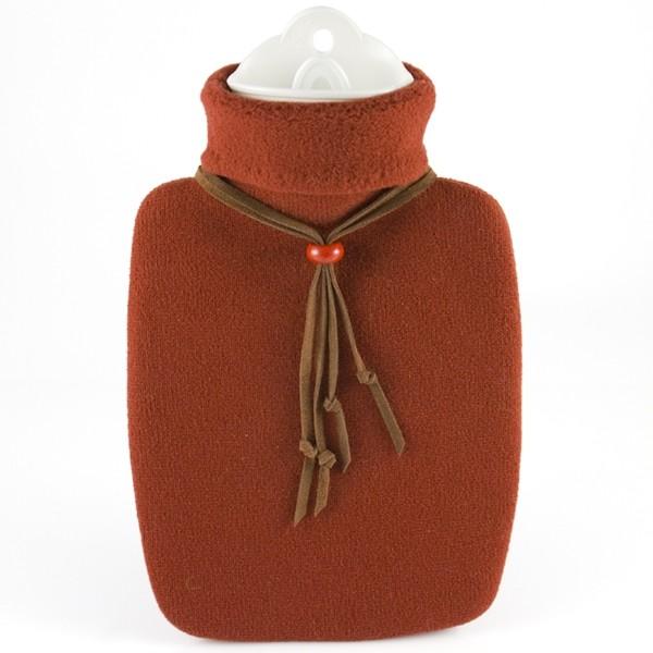 Wärmflasche Klassik Strickbezug ziegelrot