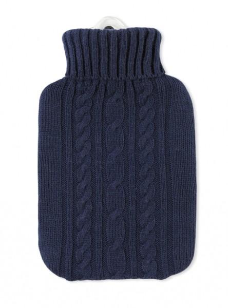 Wärmflasche Klassik Strickbezug dunkelblau