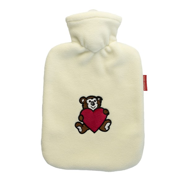 Wärmflasche Klassik mit Fleecebezug creme Bär mit Herz