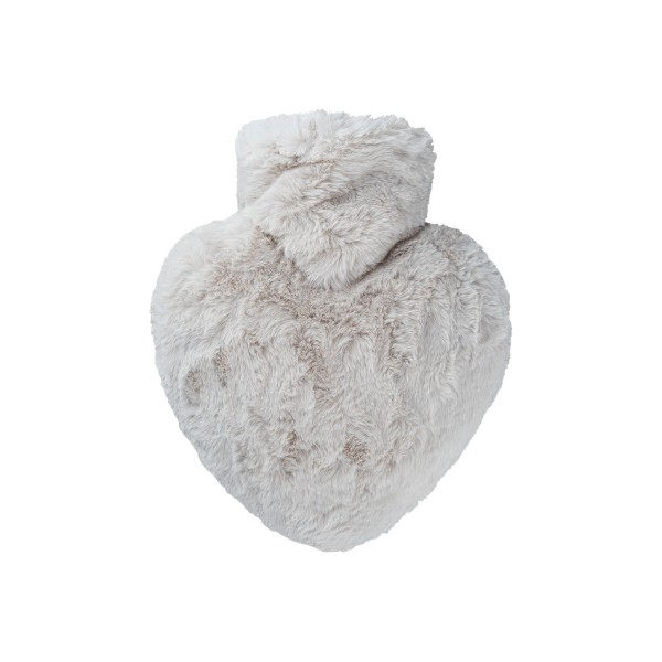 Wärmflasche Herz 1,0 l mit Flauschbezug taupe