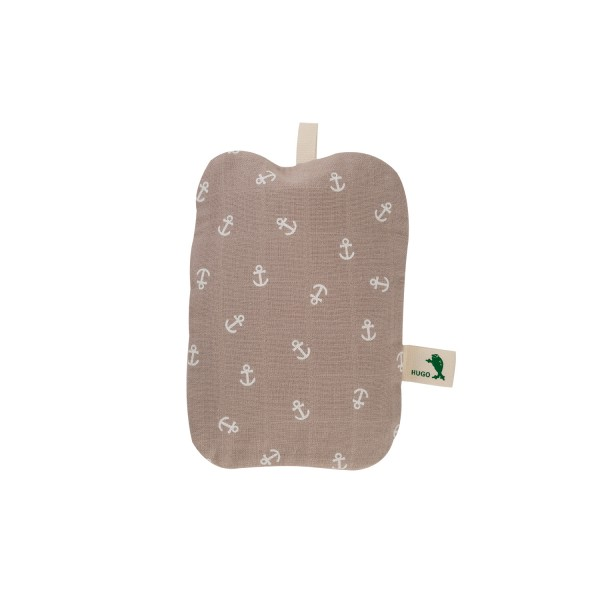 Mini-Wärmflasche mit Bio-Baumwollbezug Anker hellbraun