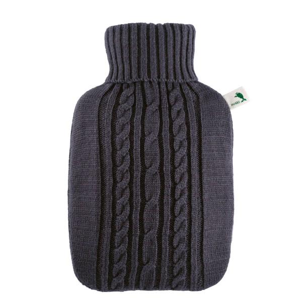 Wärmflasche Klassik 1,8 L mit Strickbezug anthrazit