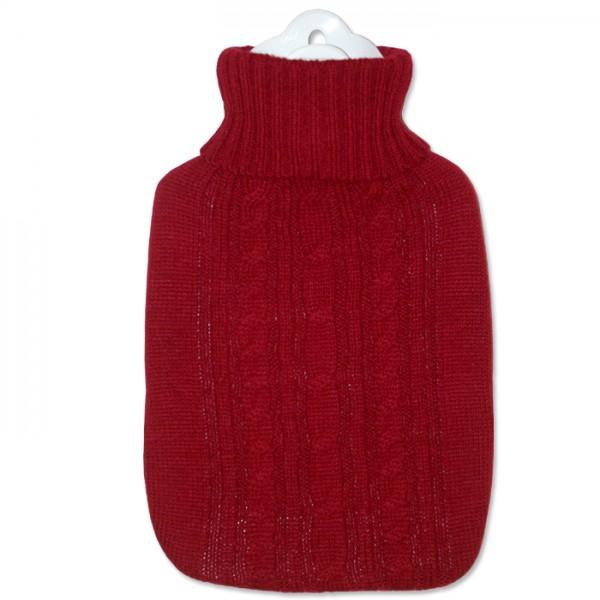 Wärmflasche Klassik Strickbezug rot