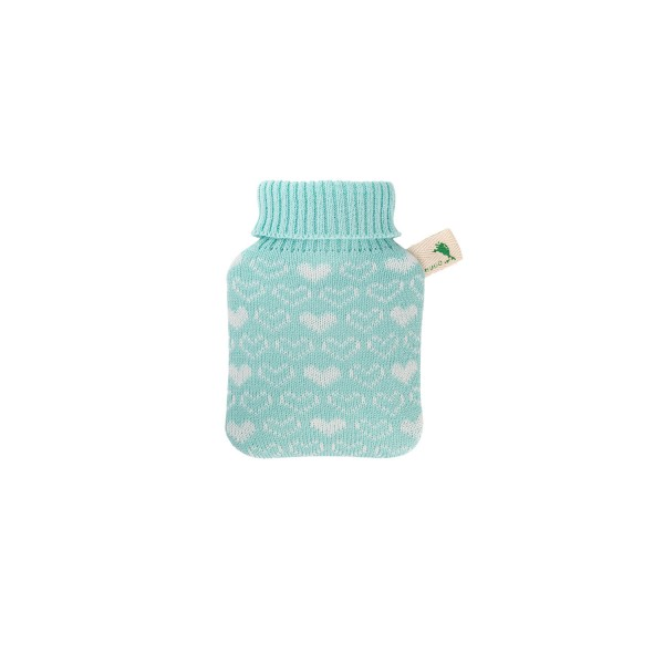 Mini-Wärmflasche 0,2 L mit Strickbezug mint Herzen