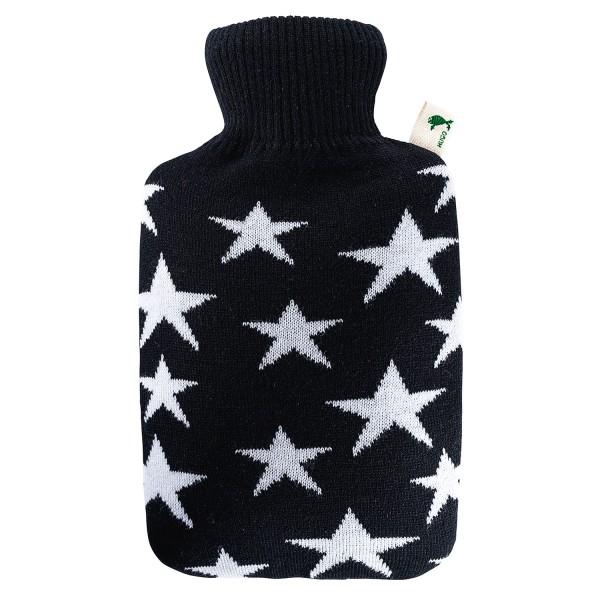 Wärmflasche Klassik 1,8 L mit Strickbezug Sterne weiß