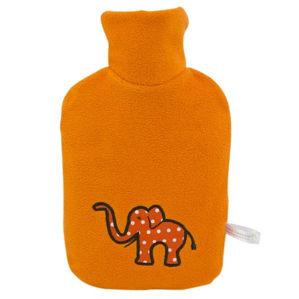 "Kinder Öko-Wärmflasche Double-Fleecebezug orange, Applikation ""Elefant"""