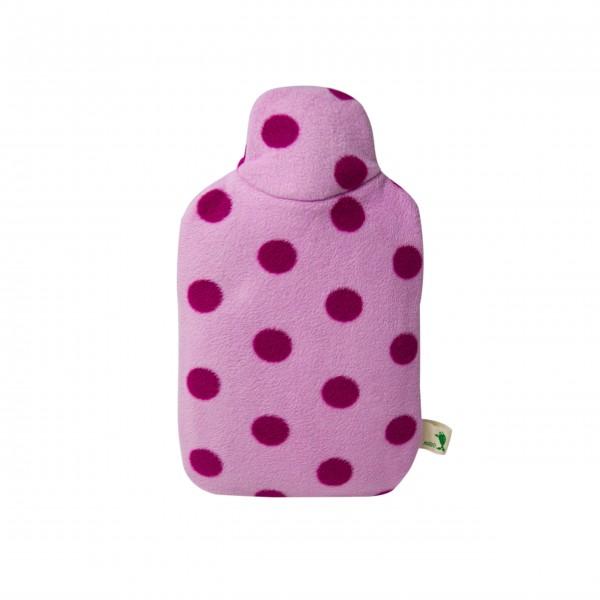 Kinder Öko-Wärmflasche mit Double-Fleecebezug rosa Punkte