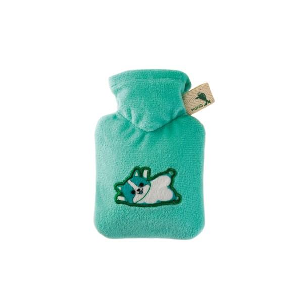 Mini-Wärmflasche mit Veloursbezug mint Katze