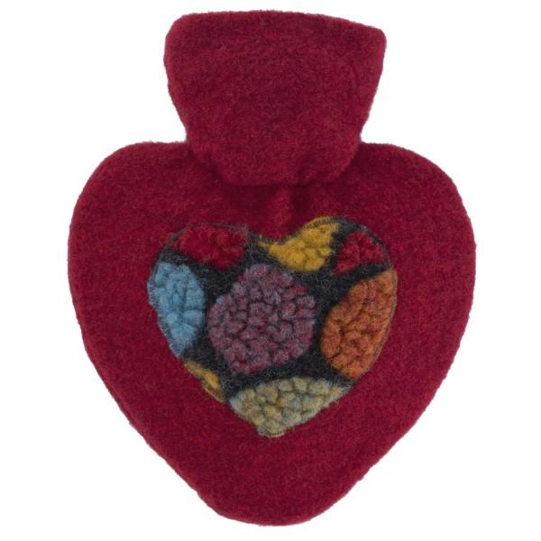 Wärmflasche Herz mit Strickbezug Filzoptik Pon Pon