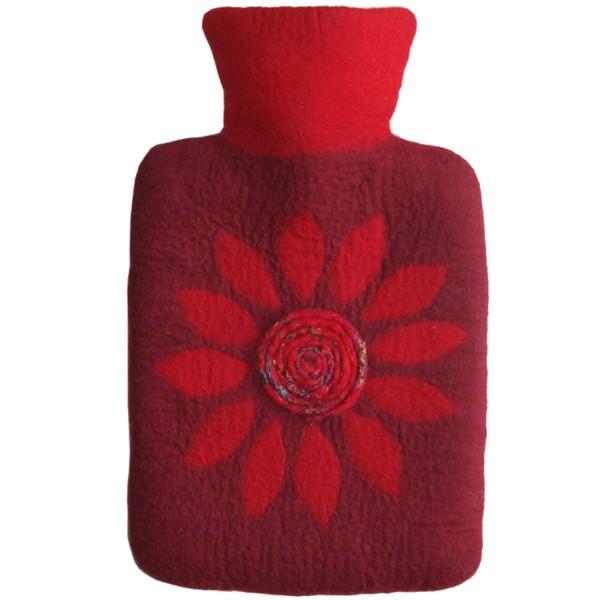 Wärmflasche Klassik 1,8 L mit Filzbezug Blüte
