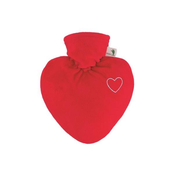 Wärmflasche Herz 1,0 L mit Veloursüberzug rot