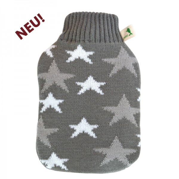 Kinder Öko-Wärmflasche Strickbezug Sterne grau-weiß