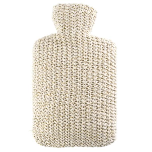Wärmflasche Klassik Strickbezug Lurex creme