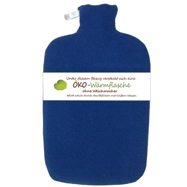 Öko-Wärmflasche Fleecebezug blau