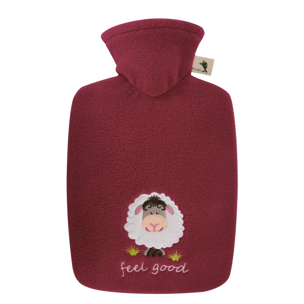 Wärmflasche Klassik 1,8 L mit Fleecebezug feel good rot