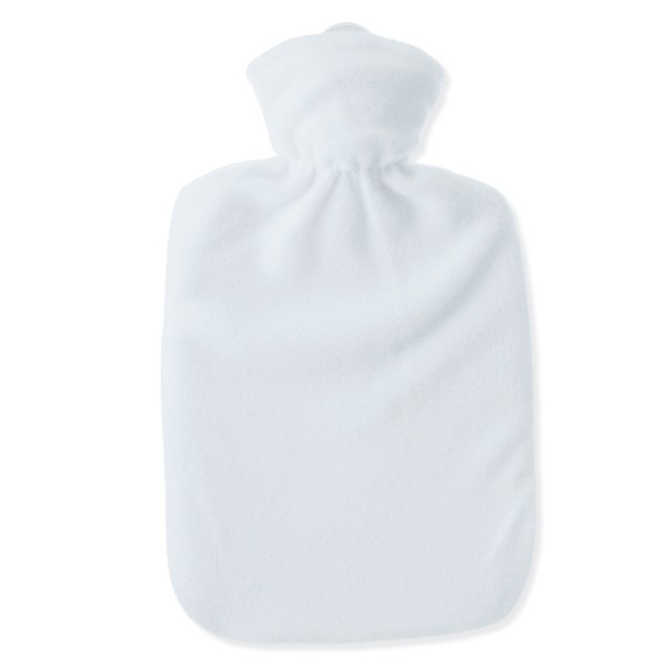 Wärmflasche Klassik Fleecebezug weiß