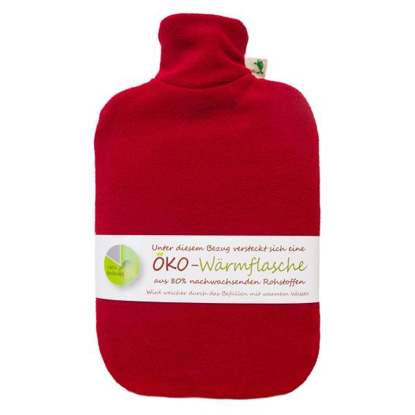 Öko-Wärmflasche mit Fleecebezug rot
