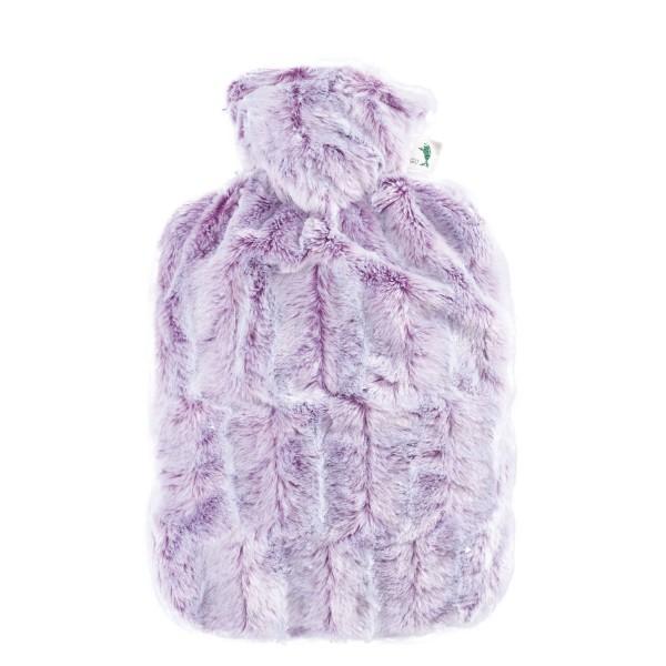 Wärmflasche Klassik mit Bezug Tierfelloptik lila-silber