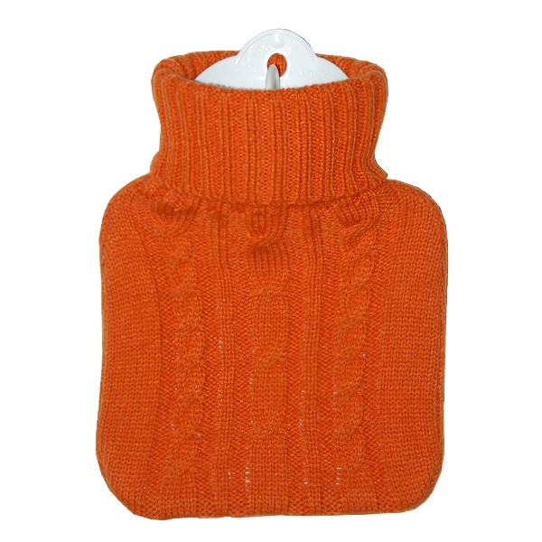 Kinder-Wärmflasche Strickbezug orange