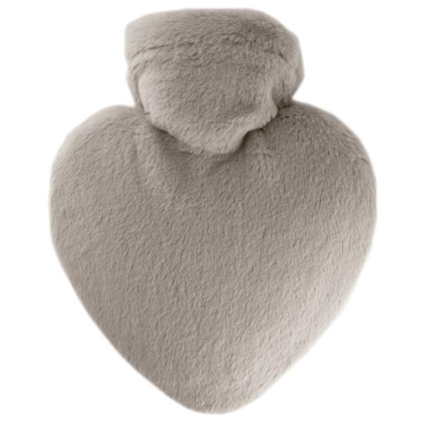 Wärmflasche Herz mit Flauschbezug taupe