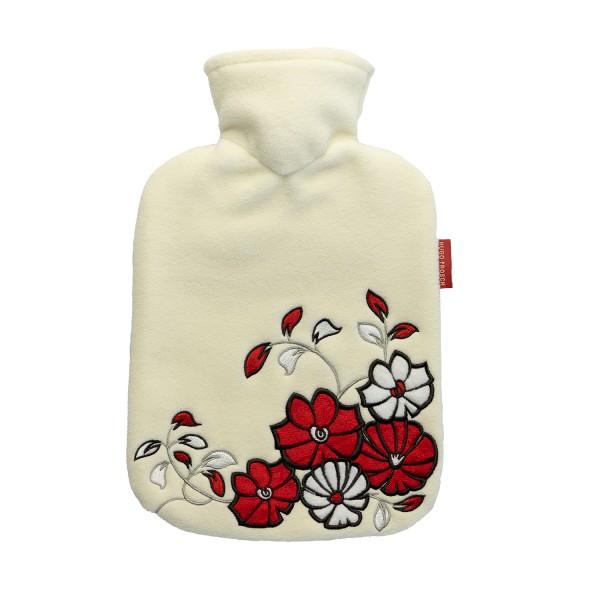 Wärmflasche Klassik mit Fleecebezug creme Blumenornament