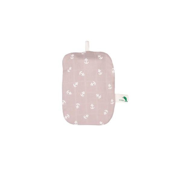 Mini-Wärmflasche 0,2 L mit Bio-Baumwollbezug Anker hellbraun
