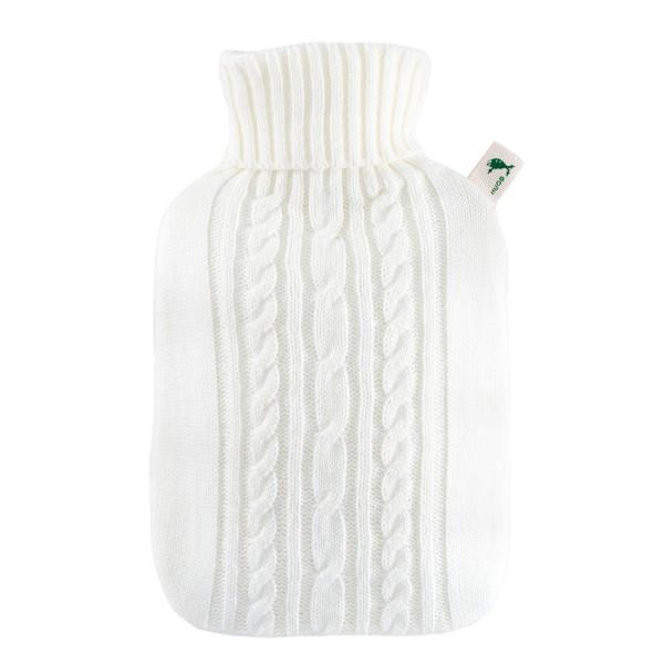 Wärmflasche Klassik mit Strickbezug weiß