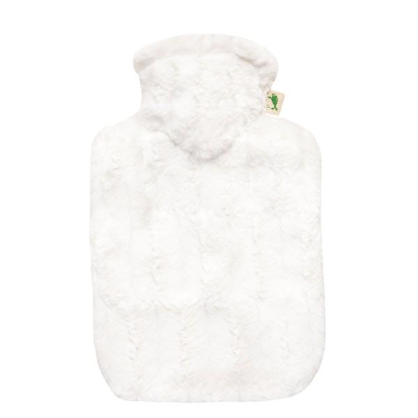 Wärmflasche Klassik 1,8 L mit Bezug Tierfelloptik weiß