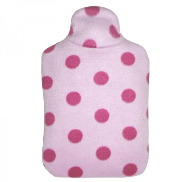 Kinder Öko-Wärmflasche Double-Fleecebezug mit rosa Punkten