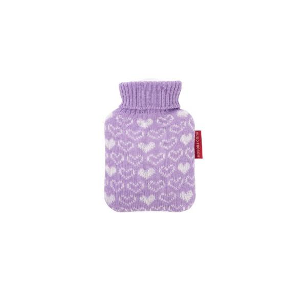 Mini-Wärmflasche 0,2 L mit Strickbezug lila Herzen