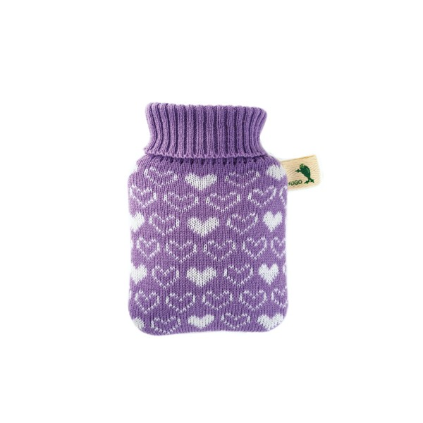 Mini-Wärmflasche Strickbezug lila Herzen