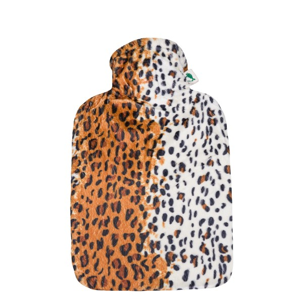 Wärmflasche Klassik 1,8 L mit Veloursbezug Leopard