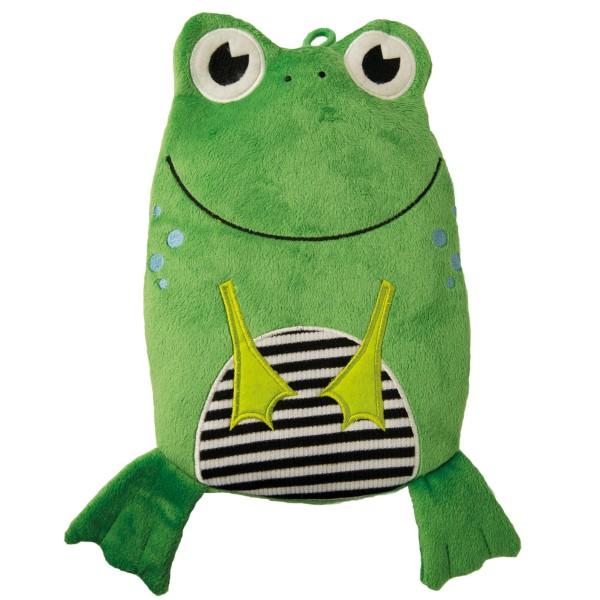 "Kinder Öko-Wärmflasche ""Frosch"" Veloursbezug grün"