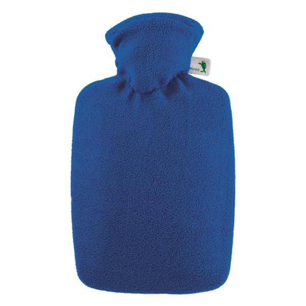 Wärmflasche Klassik mit Fleecebezug blau