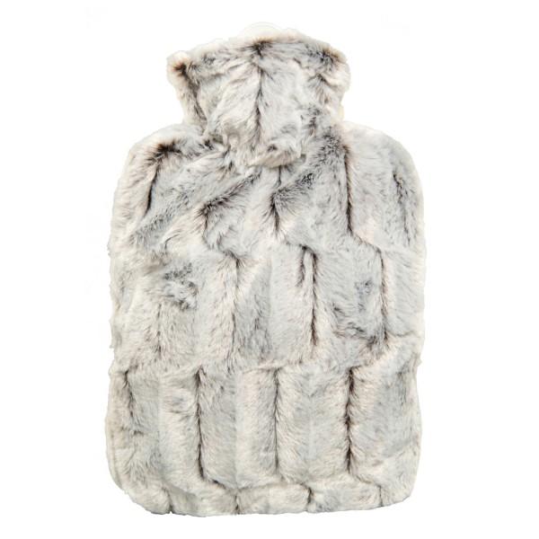 Wärmflasche Klassik Bezug Tierfelloptik braun-silber