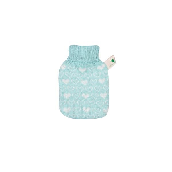 Mini-Wärmflasche mit Strickbezug mint Herzen