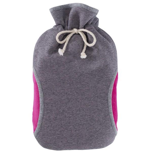 Öko-Wärmflasche mit Bezug Muff pink