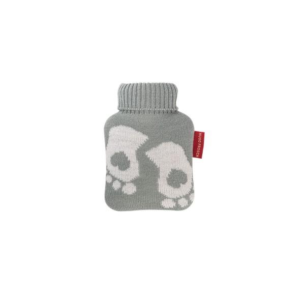Mini-Wärmflasche 0,2 l mit Strickbezug pastellgrün Füße