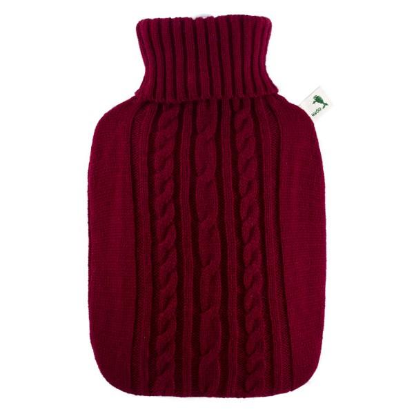Wärmflasche Klassik mit Strickbezug rot