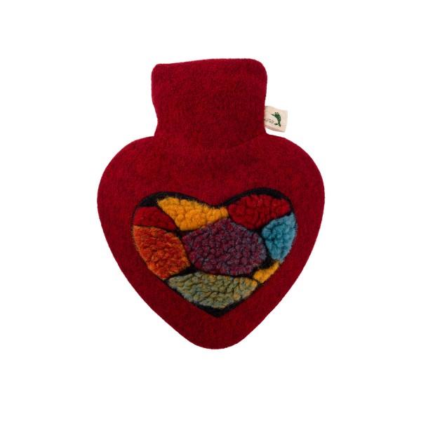 Wärmflasche Herz 1,0 L mit Strickbezug Filzoptik Pon Pon