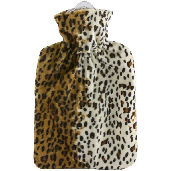 Wärmflasche Klassik Veloursbezug Leopard