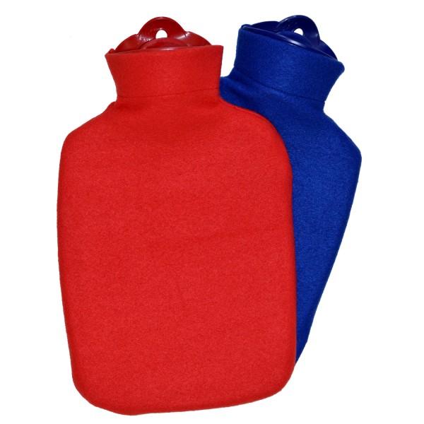 Wärmflaschen-Set Klassik Fleece rot + blau
